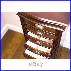 Mirrored Jewelry Armoire Box Cabinet Storage Chest Stand Organizer Necklace Wood
