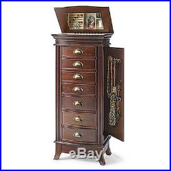 Mirrored Jewelry Armoire Box Organizer Necklace Wood Cabinet Storage Chest Stand