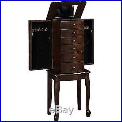 Mirrored Jewelry Armoire Box Organizer Tall Stand Up Vintage Cabinet Walnut Wood