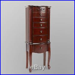 Mirrored Jewelry Armoire Box Vintage Cabinet Tall Stand Up Organizer Cherry Wood