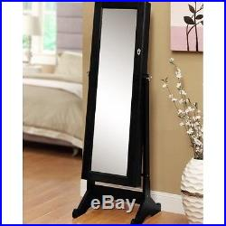 Mirrored Jewelry Armoire Cabinet Full Length Mirror Organizer Box Standing Room