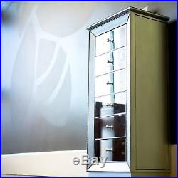 Mirrored Jewelry Armoire Cabinet Tall Silver Storage Drawers Organizer with Mirror