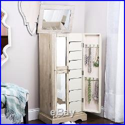 Mirrored Jewelry Armoire Cabinet Tall Storage Chest Floor Standing Gray Antique