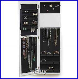 Mirrored Jewelry Armoire Cabinet Turquoise Chest Box Storage Wood Wall Door NEW