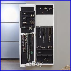 Mirrored Jewelry Armoire Cabinet White Chest Box Storage Wood Wall Door Luxury
