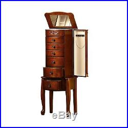 Mirrored Jewelry Armoire Cherry, Vintage, Tall, Stand Up Jewelry Box Solid Wood