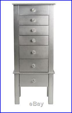 Mirrored Jewelry Armoire Contemporary Cabinet Chest Storage Necklace Organizer