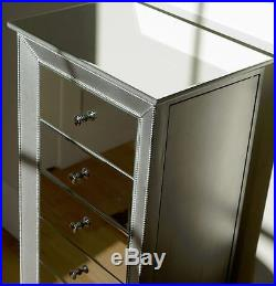 Mirrored Jewelry Armoire Large Standing 6 Drawer Silver Chest Cabinet Furniture