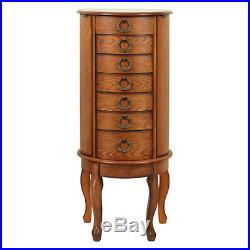 Mirrored Jewelry Armoire Oak Antique Lingerie Chest Box Cabinet Large Storage