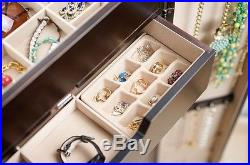 Mirrored Jewelry Armoire Tall Cabinet Storage Box Organizer Free Standing Rings
