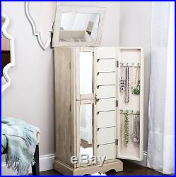 Mirrored Jewelry Armoire Vintage Cabinet Display Box Chest Storage Stand Wooden