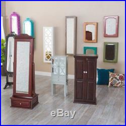 Mirrored Jewelry Armoire Wall Mounted Locking Storage Organizer Cabinet Wood New