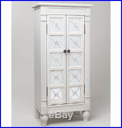 Mirrored Jewelry Armoire White Tall Wooden Storage Cabinet Box Drawer Case Stand