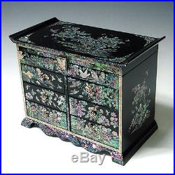 Mother of Pearl Asian Lacquer Wood Jewellery Keepsake Treasure Chest Trinket Box