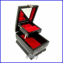 Mother of Pearl Asian Lacquer Wooden Black Bird Music Jewelry Case Trinket