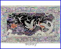 Mother of Pearl Asian Lacquer Wooden Decorative Lock Jewelry Treasure Chest Box