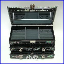 Mother of Pearl Asian Lacquer Wooden Jewelry Gift Storage Ring Trinket Chest Box