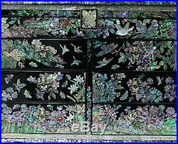Mother of Pearl Asian Lacquer Wooden Jewelry Keepsake Treasure Chest Trinket Box