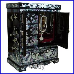 Mother of Pearl Big Standing Wood Jewelry Earring Ring Necklace Box Case Armoire