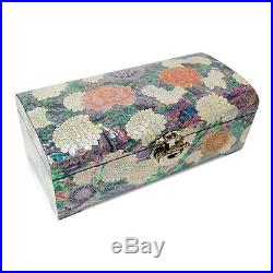 Mother of Pearl Flower Lacquer Wood Jewelry Trinket Treasure Keepsake Box Chest