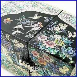 Mother of Pearl Inlaid Lacquer Wooden Jewellery Keepsake Trinket Decorative Box