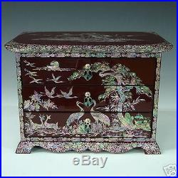 Mother of Pearl Inlaid Red Lacquer Wood Jewelry Decorative Art Deco Keepsake Box