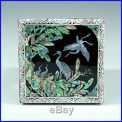 Mother of Pearl Inlay Lacquer Wood Jewelry Case Trinket Treasure Jewel Chest Box