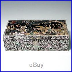 Mother of Pearl Inlay Wood Bird Tree Jewelry Trinket Treasure Lacquer Box Chest