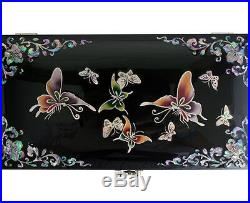 Mother of Pearl Inlay Wooden Asian Lacquer Butterfly Jewelry Treasure Chest Box