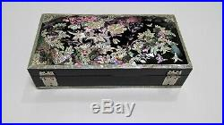 Mother of Pearl Jewelry Box Jewelry Storage Wooden Box Flowers Butterflies Black