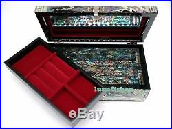 Mother of Pearl Jewelry Box, Nacre Chest Trinket Case Wooden Lacquer Korean Box