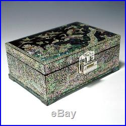 Mother of Pearl Lacquer Wooden Art Decorative Jewelry Trinket Keepsake Box Chest
