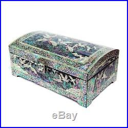 Mother of Pearl Lacquer Wooden Jewelry Gift Trinket Keepsake Treasure Chest Box