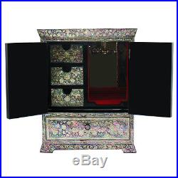 Mother of Pearl Standing Lacquer Wooden Jewelry Trinket Necklace Hanger Box Case