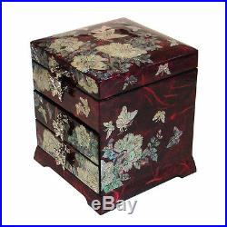 Mother of Pearl Wood Red Lacquer Korean Oriental Treasure Jewelry Ring Box Case