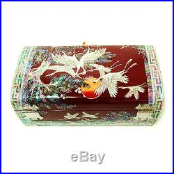Mother of Pearl Wooden Korean Red Lacquer Jewellery Keepsake Treasure Chest Box