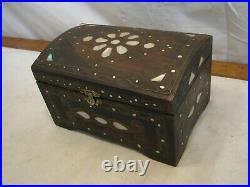 Mother of Pearl Wooden Trinket Dresser Box Jewelry Treasure Chest Inlay MOP Wood