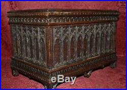 Museum Quality Antique Gothic Style Hand Carved Wooden Jewelry Box Casket