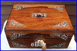 NEAT c 1850 MID VICTORIAN ROSEWOOD MOTHER OF PEARL INLAY JEWELLERY BOX LOVELY