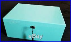 NEW Tiffany Blue XLarge High Gloss, Blue Lacquer Jewelry Box, Organizer with Lock