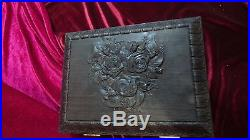 NEW wooden Carved jewelry box Casket Souvenir Gift, made from bog oak VERY RARE