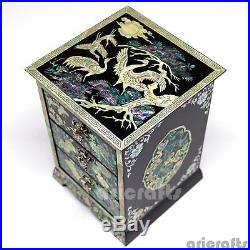 Nacre Mother of Pearl Jewelry Drawer Box, Chest Trinket Case Wooden Lacquer Box