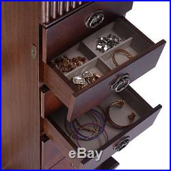 New Jewelry Cabinet Armoire Box Storage Chest Stand Organizer Necklace Wood