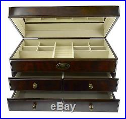 New Large Wood Jewelry Box Storage Container Brand Bombay 10H x 18W x 10D