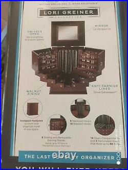 New Lori Greiner Deluxe Wooden Jewelry ear rings Box Organizer holds 300 pieces