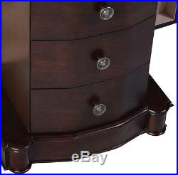 New Wood Jewelry Cabinet Armoire Box Storage Chest Stand Organizer Necklace