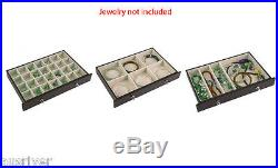 New Wooden Necklace Bracelet Rings Storage Organiser Jewelry Box with Lock Wine
