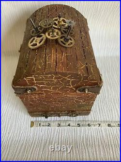ONE-OF-A-KINDWood Treasure Chest/Jewelry Box with secret hidden key Steampunk