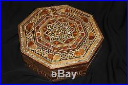 Octagon Handmade Marquetry Inlaid Mosaic Mother of Pearl Wooden Jewelry Box
