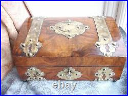 Old Antique Victorian Walnut Wooden Brass Domed Jewellery Fitted Box c. 1860 Fine